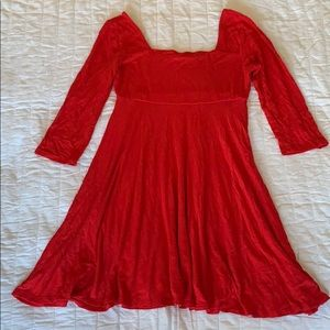 3/4 sleeve red swing dress